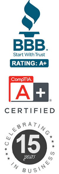 BBB A+ Rating, CompTIA A+ Certified, 10 Years in Business Images